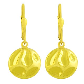 Fremada Gold over Sterling Silver Puffed Round Dangle Earrings