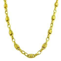 Fremada Gold over Sterling Silver Fancy Oval Link Necklace