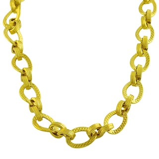 Fremada Gold over Sterling Silver Diamond-cut Oval Link Necklace