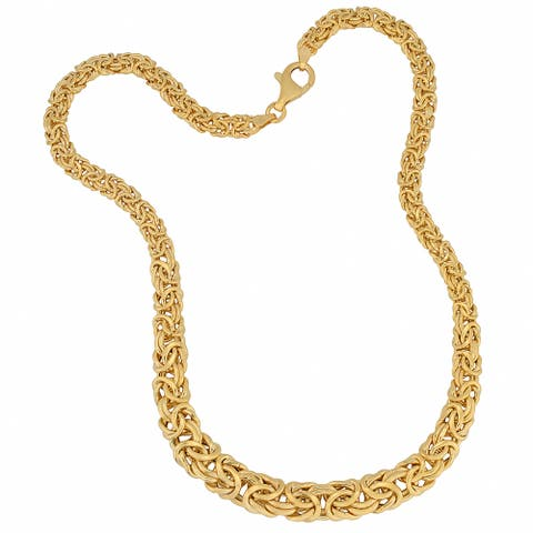 Fremada 18k Yellow Gold Over Sterling Silver Graduated Byzantine Necklace