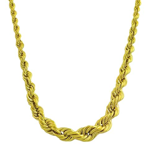 Fremada Gold over Sterling Silver Graduated Rope Necklace