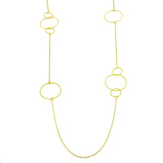 Fremada Gold over Silver Diamond-cut Circles Station Necklace