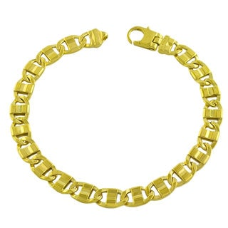 Fremada Gold over Sterling Silver Men's Fancy Mariner Link Bracelet