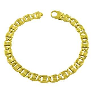 Fremada Gold over Sterling Silver Men's Fancy Mariner Link Bracelet