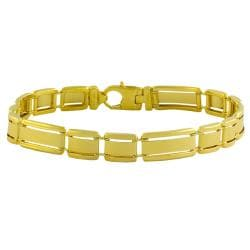 Fremada Gold over Sterling Silver Men's Designer Link Bracelet