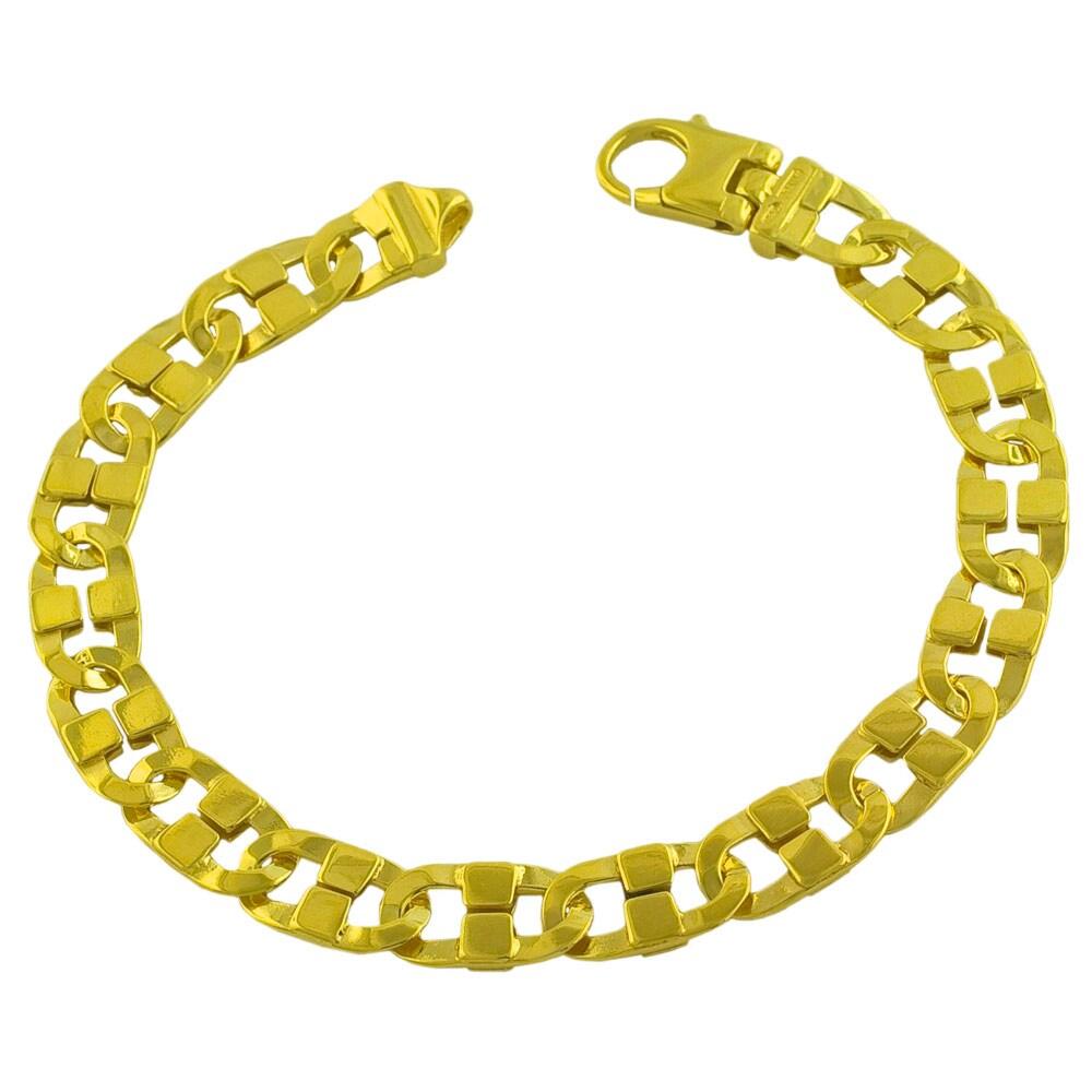Fremada Gold over Silver Men's 9-mm Fancy Mariner Link Bracelet