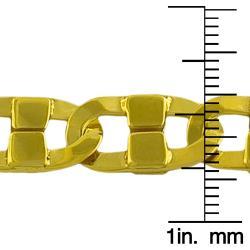 Fremada Gold over Silver Men's 9-mm Fancy Mariner Link Bracelet - Thumbnail 2