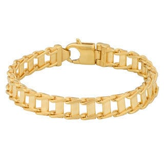 Fremada Gold over Sterling Silver Men's 10-mm Fancy Link Bracelet