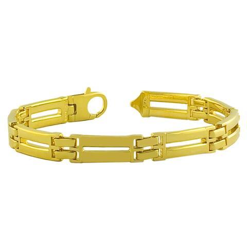 Fremada Gold over Sterling Silver Men's Solid Designer Link Bracelet