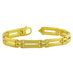 Fremada Gold over Sterling Silver Men's Solid Designer Link Bracelet