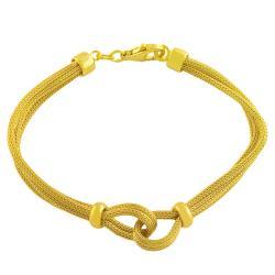 Fremada Gold over Sterling Silver Knotted Mesh Bracelet