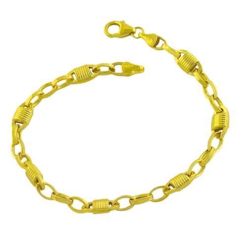 Fremada Gold over Sterling Silver Fancy Oval Link Bracelet