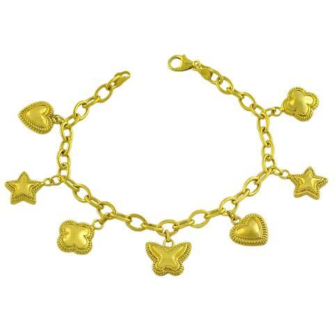 Fremada Gold over Sterling Silver Heart/ Star/ Flower Charm Bracelet