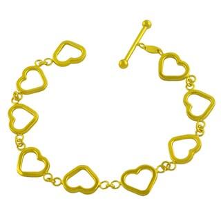 Fremada Gold over Sterling Silver Open Heart Link Toggle Bracelet