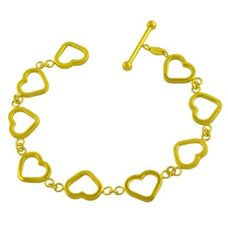 Fremada Gold over Sterling Silver Open Heart Link Toggle Bracelet