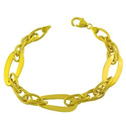 Fremada Gold Over Sterling Silver Satin Polished Fancy Link Bracelet