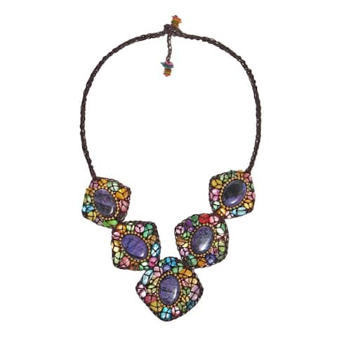 Handmade Multicolor Mother of Pearl and Purple Howlite Cotton Necklace (Thailand)