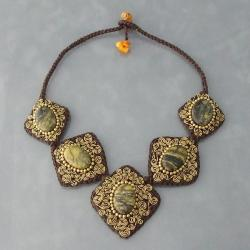 Brass Yellow Turquoise Spiral Accented Necklace (Thailand)