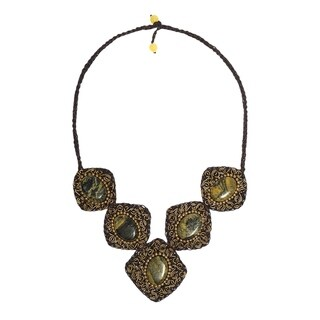 Handmade Brass Yellow Turquoise Spiral Accented Necklace (Thailand)