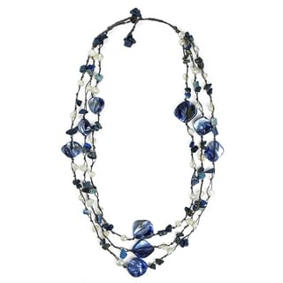 Handmade Blue Shell and Blue Quartz Three-Row Necklace (5-8 mm)(Thailand)