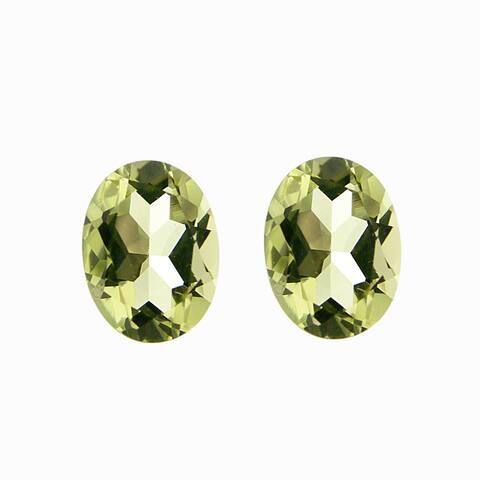 Glitzy Rocks Oval-cut 8x6mm 2 1/10ct TGW Lime Quartz Stones (Set of 2)