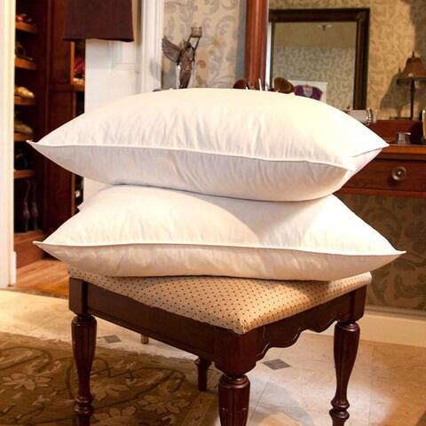 Cozy Cotton White Goose Feather Pillows (Set of 2)