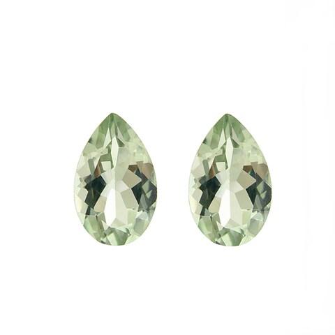 Glitzy Rocks Pear-cut 9x6mm 2 1/2ct TGW Green Amethyst Stones (Set of 2)