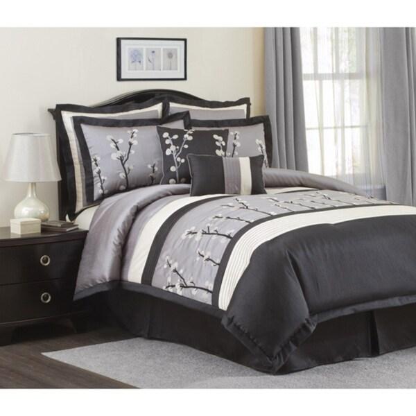Lush Decor 'Cocoa Flower' Black/ Silver 8-Piece Full Size Comforter Set