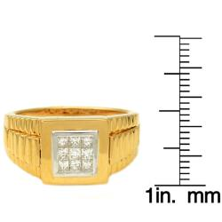 Beverly Hills Charm 18k Gold Over Silver 1/2ct TDW Diamond Gent's Ring (H-I, I1)