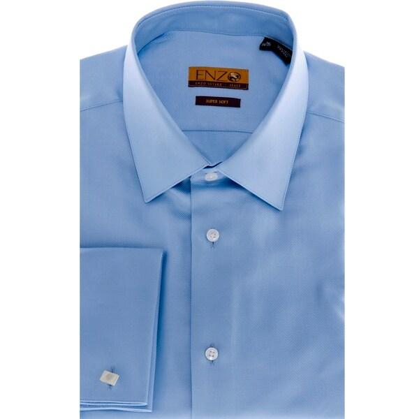 Men's Blue Cotton Dress Shirt