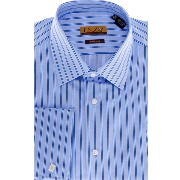 Men's Blue Stripe Cotton French-Cuff Dress Shirt