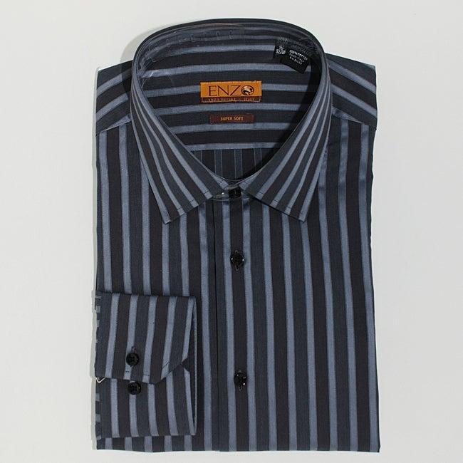 Men's Grey Striped Cotton Dress Shirt