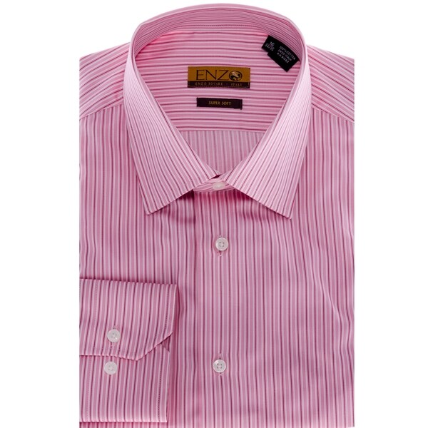 Men 39 s pink striped cotton dress shirt free shipping for Mens red and white striped dress shirt