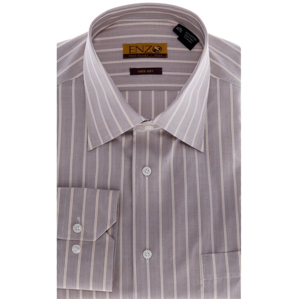 Men's Taupe Striped Cotton Dress Shirt