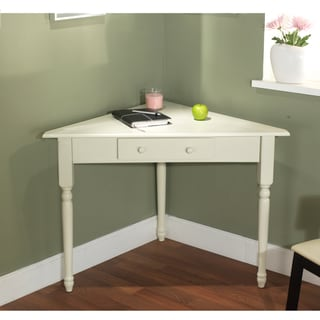 Simple Living White Corner Desk with Turned Legs