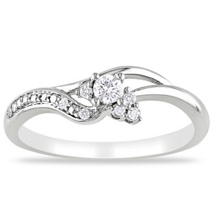 Miadora 10k White Gold 1/6ct TDW Round-cut Diamond Engagement Ring