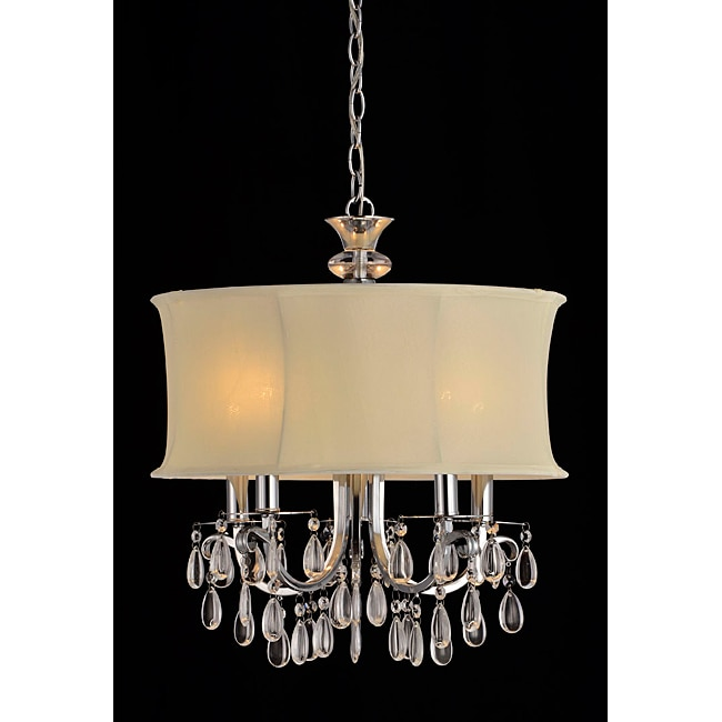 Beige Shade 5-light Crystal Chandelier - Thumbnail 0