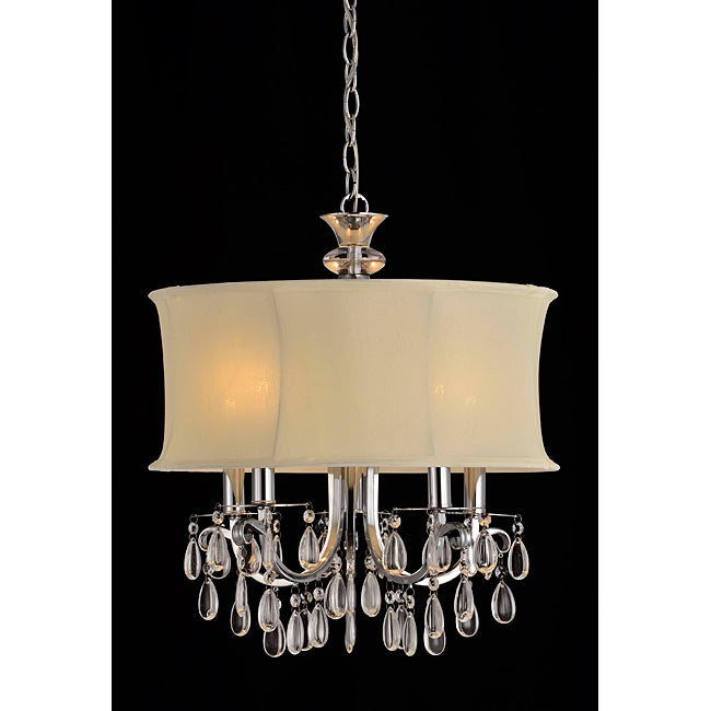 Beige Shade 5-light Crystal Chandelier