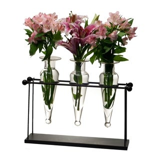 Recycled Glass Triple Flower Vase Rustic Metal Stand