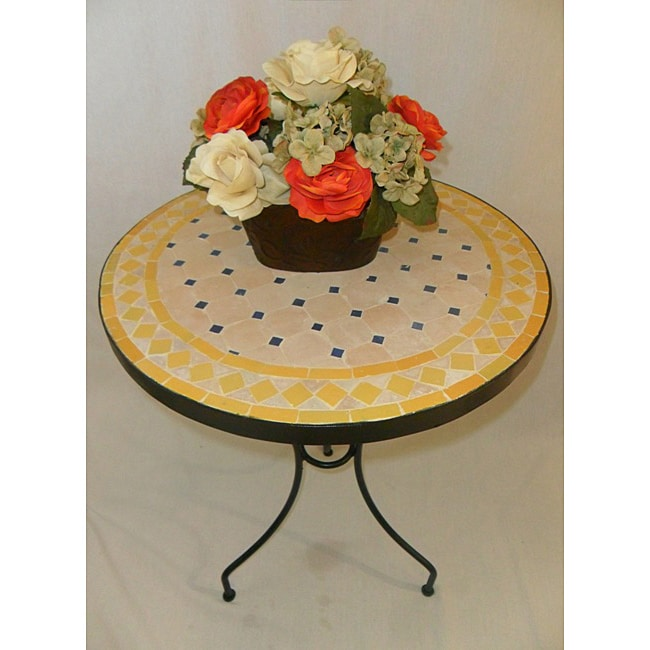Iron Yellow, Blue and Beige Mosaic Table (Morocco)