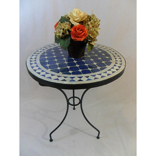Iron Blue and White Mosaic Table (Morocco)