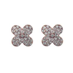 14k Rose Goldplated Clear Cubic Zirconia Big Clover Stud Earrings