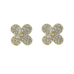 Goldplated Cubic Zirconia Clover Stud Earrings