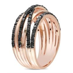 Miadora Pink Silver 1/4ct TDW Black Diamond  Ring