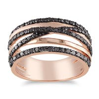 Miadora Pink Silver 1/4ct TDW Black Diamond Ring
