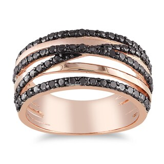 Miadora Pink Silver 1/4ct TDW Black Diamond Ring (5 options available)