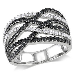 Miadora Sterling Silver 1ct TDW Black-and-white Round-cut Diamond Ring