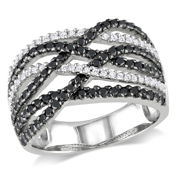 Miadora Sterling Silver 1ct TDW Black-and-white Round-cut Diamond Ring (H-I, I3)
