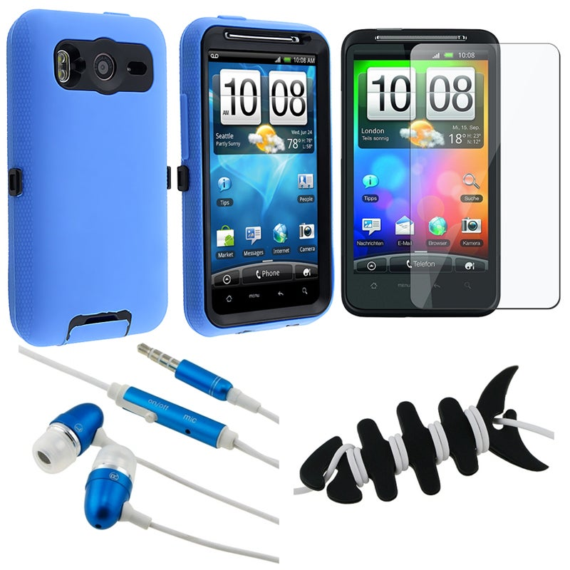INSTEN Hybrid Phone Case Cover/ Screen Protector/ Headset/ Wrap for HTC Desire HD