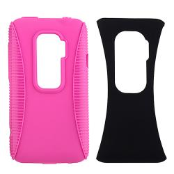 INSTEN Hot Pink TPU/ Black Plastic Hybrid Phone Case Cover for HTC EVO 3D
